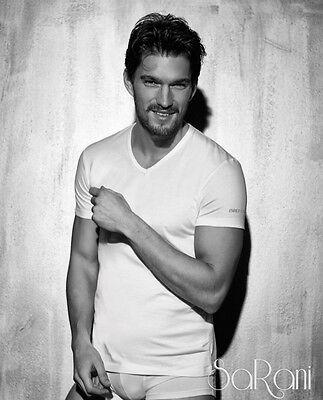 3 T-shirt Sous-vêtements Pour Hommes Enrico Coveri Blanc Gris Bleu Noir Coton