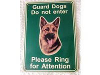 Guard Dog metal Warning sign, German Shepherd, Swaffham area