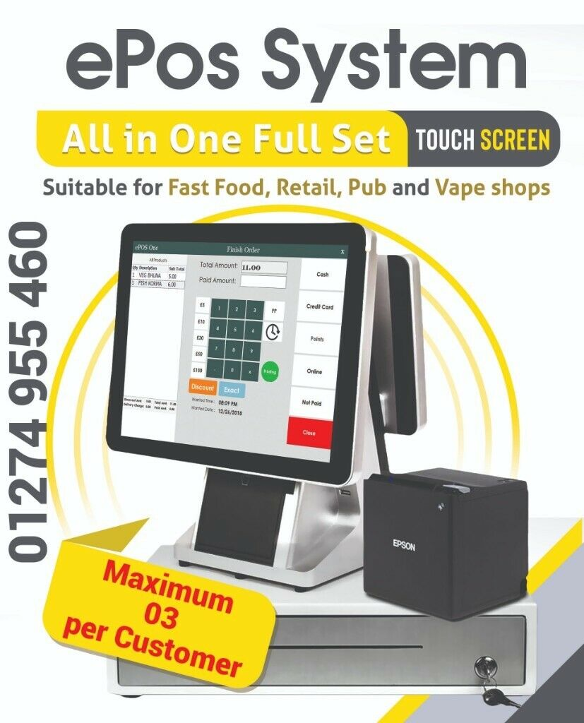"""EPOS – POS All in one 15 6 """" Touch Screen full set  Shop till pos software  included  