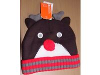 Brand New Mountain Warehouse Reindeer Beanie Hat Brown Red Pompom Nose Christmas