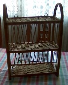 """Bamboo and wicker three shelf display unit. Can be hung on the wall or freestanding-17"""" tall."""