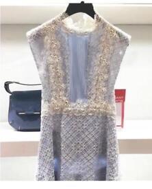 Brand New Sandro Blue Lace Dress Size 3 UK 10