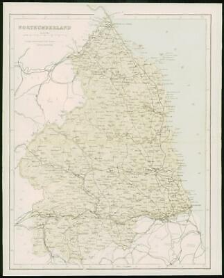 1868 - Original Colour Antique Map of NORTHUMBERLAND by W Hughes (FC33)