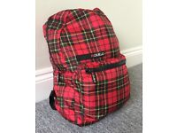 Packable backpack, Tartan Red.