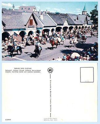Danish Days Festival Parade Horses  Solvang California Postcard - Architecture