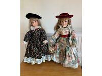 2 x Vintage, handmade dolls, porcelain faced dolls – both excellent condition - £10