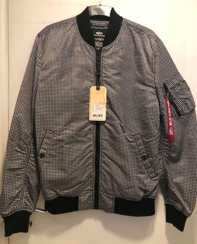 2b3030ad9 BRAND NEW Alpha industries MA-1 check print bomber jacket size Large (  black / white )   in Islington, London   Gumtree