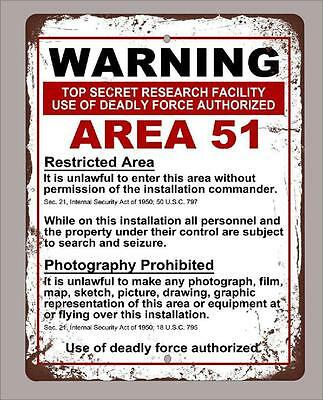 Metal Sign 9 X12  Vintage Look Warning Area 51 Funny Decorative  Free Shipping
