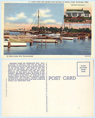 Yacht Basin & Sail Club Building Battery Park Sandusky Ohio Teich 1940 Postcard