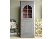 Large Rustic Farmhouse Pine Kitchen Corner Unit Dresser Cabinet Painted Shabby Chic