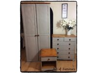 Pine Bedroom Furniture Set Wardrobe Chest of Drawers Bedside Table Hand Painted in Grey Chalk Paint