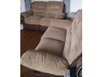 2x 2 seater recliner sofas brown.