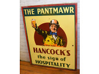 Hancocks the Pantmawr enamel sign early advertising mancave pub brewery metal vintage retro antique