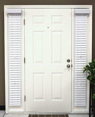 "Faux Wood Sidelight Blinds for Doors, 1 pair/2pcs, 2""slats, Outside mount, White"