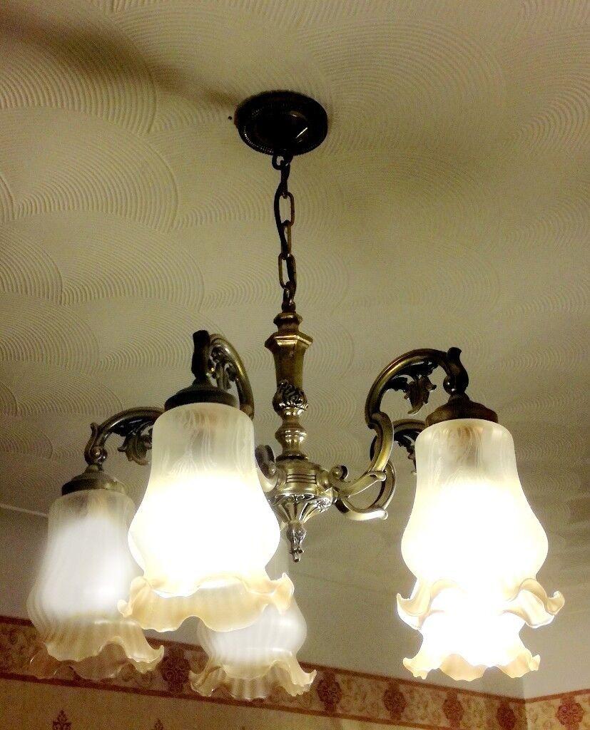2 vintage gold ornamental 5 light chandelier ceiling pendant lights ...