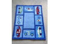 FABULOUS blue Floor rug/mat for child's room, playroom or nursery with CARS design!