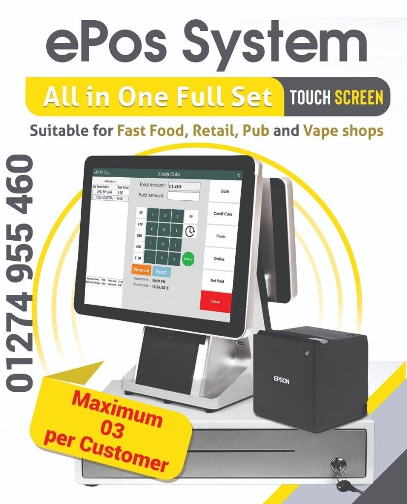 """EPOS System Till–POS All In One 15.6 """" Touch Screen Full"""