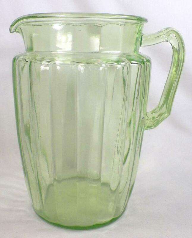 Green Depression Glass Pitcher Anchor Hocking Pillar Optic 80 oz. Vintage