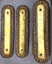 10 x Victorian solid brass finger plates 26 x 7 cm