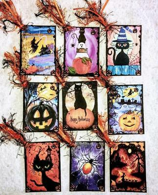 Set of 9 Hang Tags~Halloween Spooks & Cats~Gift Tags~Scrapbooking~Card's~#109R