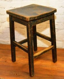 Kitchen School Stools Industrial Beech Chairs Vintage Restaurant Cafe Stacking Retro