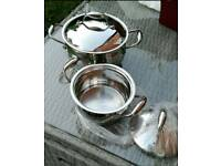 Brand new 2 BergHOFF Zeno Stainless Steel and Copper Base Casseroles with Lids, 6.6l and 3l. PP€ 130