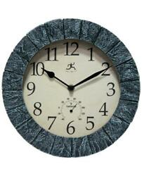 Infinity Instruments Indoor/Outdoor Wall Clock w/ Thermometer Faux Slate Look