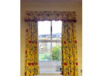 4 sets of identical curtains with pelmets