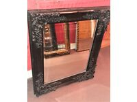 Vintage Style Black Ornate Chunky Gothic Bevelled Edge Mirror