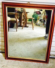 Square Mahogany Mirror