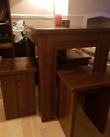 Dining table with 4 chairs/stools