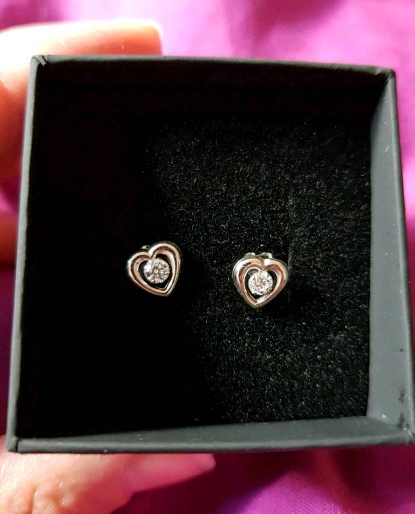 51a89a031 Revere 9ct White Gold Cubic Zirconia Heart Stud Earrings | in South ...