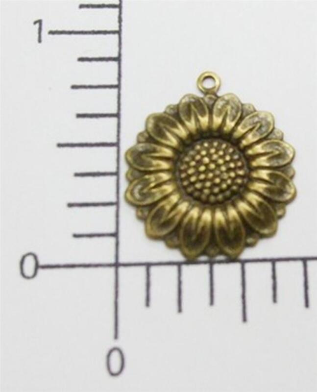 30353         3  Pc  Brass Oxidized Victorian Sunflower Charm Jewelry Finding