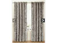Luxury crushed velvet curtains grey/silver