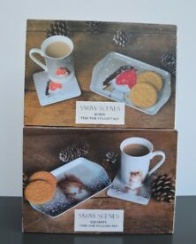 2 Brand New Mug, Coaster & Tray Sets - Christmas Robin and Squirrel in Snowflakes