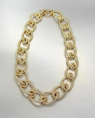 Triple Knot - CHUNKY Triple Gold Plated Textured Intertwined Knot Cable Links Chain Necklace