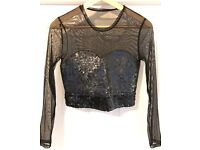 Reiss Mesh Crop Top with Sequin Bandeau Black Size Small £10