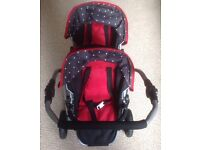 DOLL'S DOUBLE PRAM/ TANDEM PUSHCHAIR (LIKE NEW) - LOTS OF ADJUSTABLE FEATURES