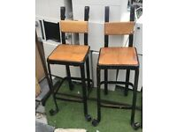 heavy duty industrial stool with wooden seat black gold high chair