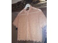 ZARA Lovely Peach/Nude Colour Lace Blouse Size M 10-12