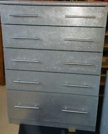 2 SILVER GLITTERED CHEST OF DRAWERS 1 2-DRAW 1 5-DRAW
