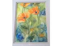Original Abstract Watercolour Painting Orange Iceland Poppy Flowers Signed