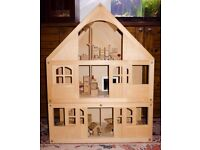 LARGE ELC Wooden Dolls House & furniture for 6 rooms - perfect Christmas present VGC