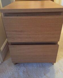 REDUCED Bedside light wood drawer unit