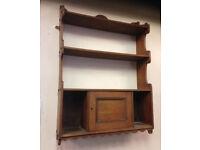 antique retro vintage shelve shelf in real wood with door