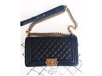 Chanel Boy handbag, authentic, real leather