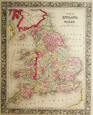 1860 Genuine Antique Map of England & Wales. A Mitchell
