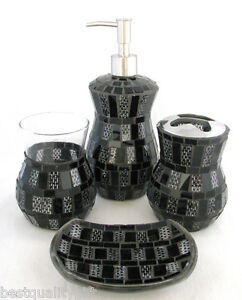 New 4 pc set black glitter moasic soap dispenser dish for Bella lux bathroom accessories uk