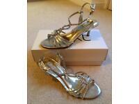 'Next' Gold High Heeled Shoes - UK Size 5