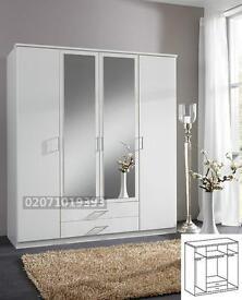 White -- 4 Door Wardrobe + 2 Drawers